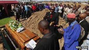 Funeral of Andries Motlapula Ntsenyeho, one of 34 miners shot dead by police at the Marikana platinum mine, being held in Sasolburg on 1 August 2012