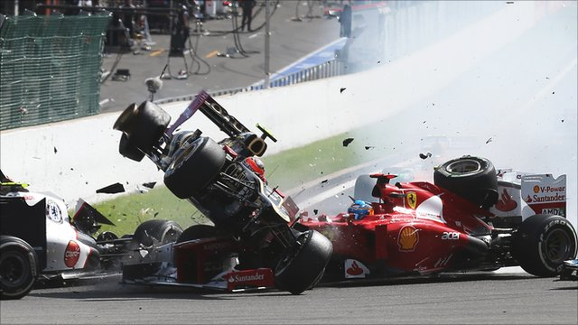 First-corner accident at the Belgian Grand Prix
