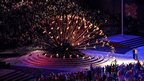 Paralympian Margaret Maughan lights The Paralympic Cauldron during the Opening Ceremony