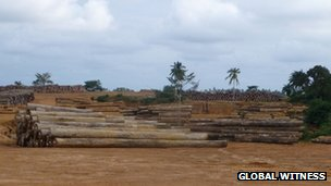 Greenville Timber Yard Liberia: Staging ground for company's logs before they are shipped out.