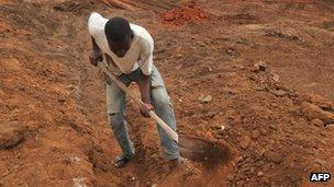 Man digging in road
