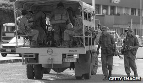 Soldiers patrol in Suva after May 1987 coup