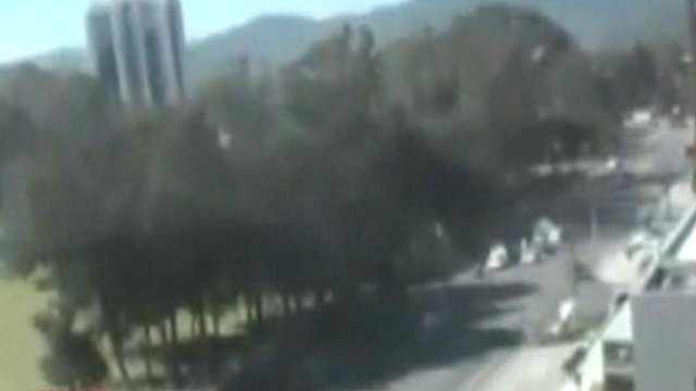 Blurry image capured by shaking Teletica traffic camera during earthquake