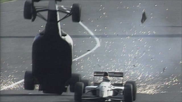Christian Fittipaldi flips into the air after colliding with Pierluigi Martini in 1993