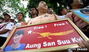 NLD supporters, Rangoon, 2007