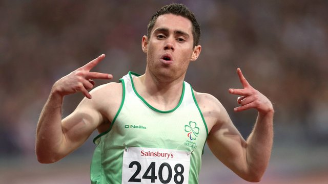 Jason Smyth celebrates after clinching his second gold medal at the Paralympics