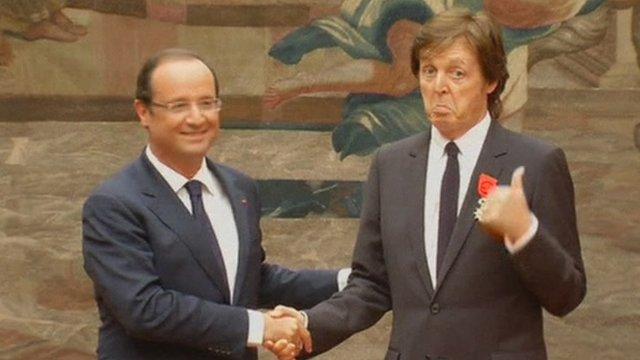 Francois Hollande and Sir Paul McCartney