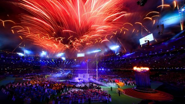 Fireworks light up the stadium at the closing ceremony of the London 2012 Paralympic Games at Olympic Stadium