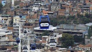 Cable car in Rio favela, Alemao