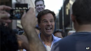 Mark Rutte campaigns ahead of the national elections