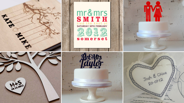 Six images of personalised cakes and stationery (Images: Folksy/Etsy)