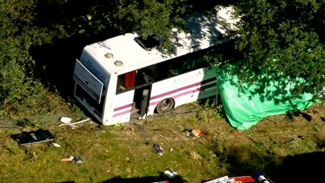 Crashed coach on the A3
