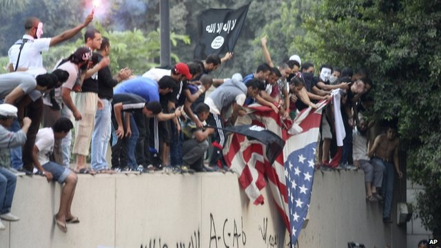 Protesters with US flag
