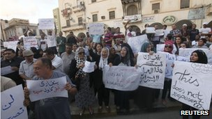 People demonstrate during a rally to condemn the killers of the US ambassador to Libya and the attack on the US consulate, in Benghazi 12 September 2012
