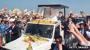Pope John Paul II accompanied by Cardinal Nasrallah Sfeir, head of he Christian Maronite Church, in Beirut in 1997