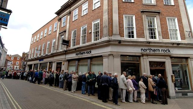 People queuing outside Northern Rock branch
