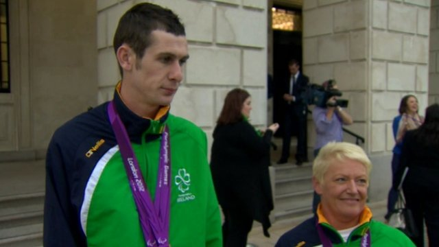 Paralympic medallists Michael McKillop and Eilish Byrne at Thursday's Stormont reception