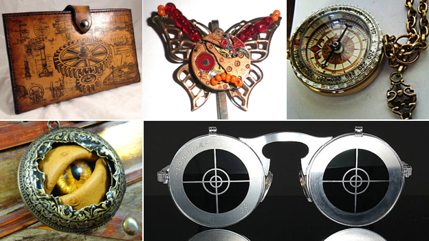 (clockwise) leather book, butterfly hair grip, compass, goggles, eye necklace pendant (Images: Etsy/Folksy)