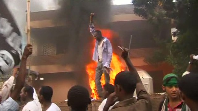 People protesting outside the Germany embassy in Khartoum, Sudan
