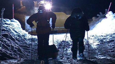 Sir Ranulph Fiennes treks in dark