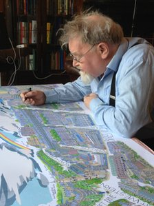 Alasdair Gray with his Hillhead artwork images