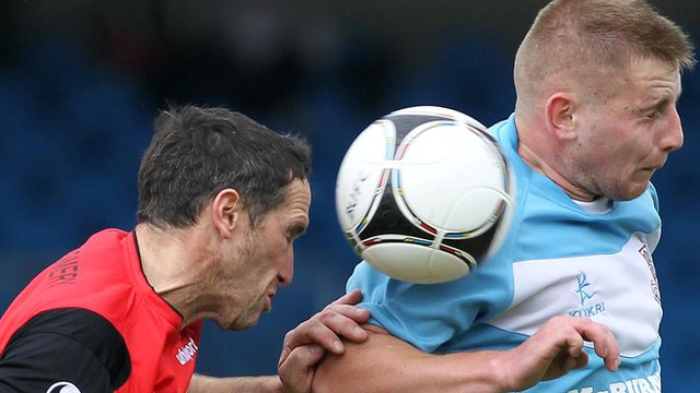 Match action from Ballymena United against Dungannon Swifts