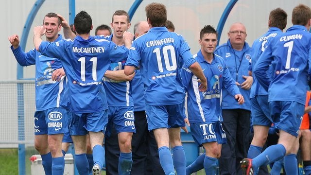 Ballinamallard players celebrate victory over Portadown