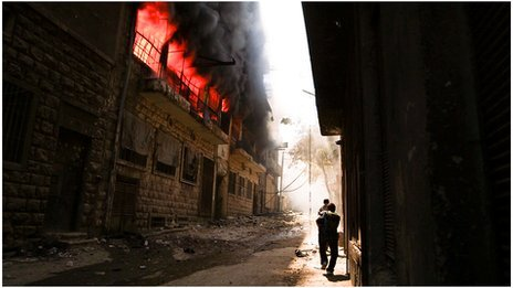 Building on fire in Aleppo, Syria