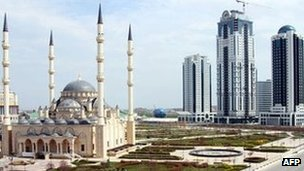 Mosque and skyscrapers in Grozny, Chechnya