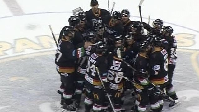 Nottingham Panthers celebrate a shoot-out victory over Belfast Giants