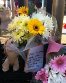 Floral tributes at York College