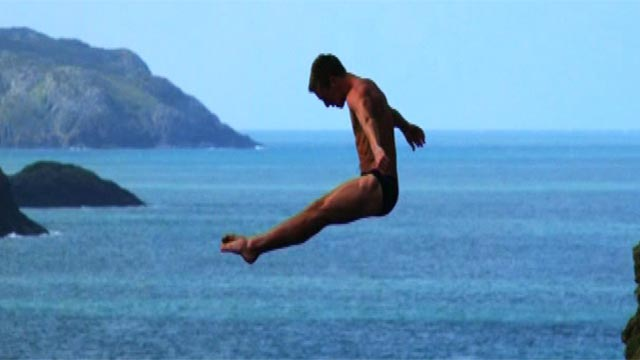 Cliff diving in west Wales