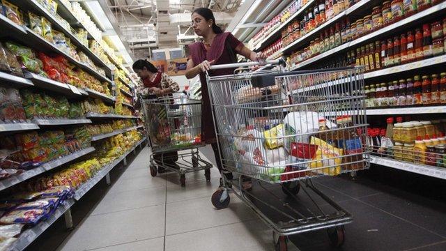 Shoppers at store in Mumbai