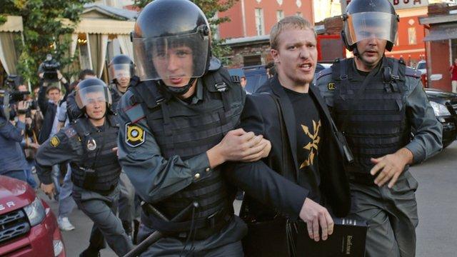 Police detain protester