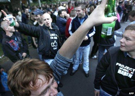 Revellers gather in Haren, 21 September