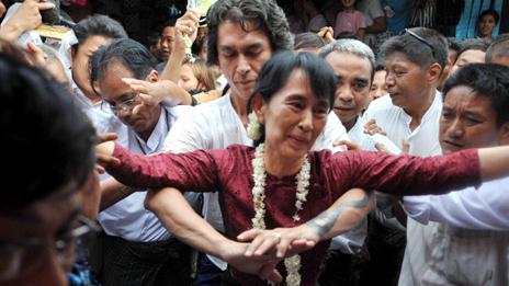 Kim Aris and Aung San Suu Kyi