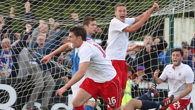 Daryl Fordyce celebrates after scoring the winning goal