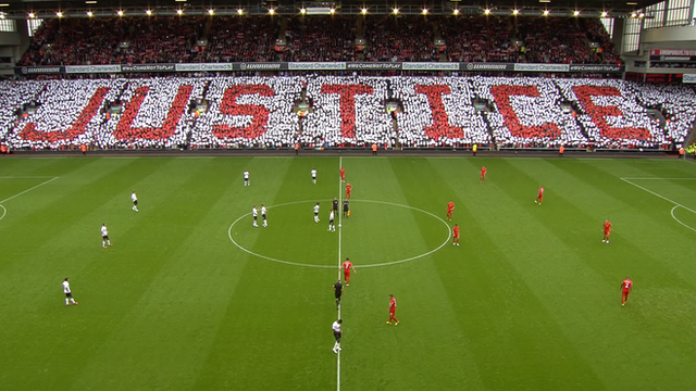 Anfield pays tribute to the victims of the Hillsborough disaster