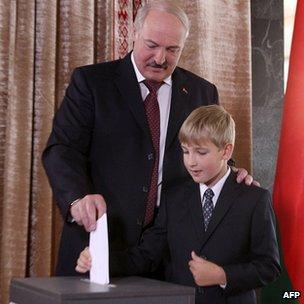 President Lukashenko and son Nikolai at a polling station in Minsk. 23 Sept 2012