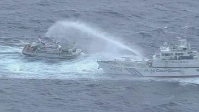 Water sprayed at ship