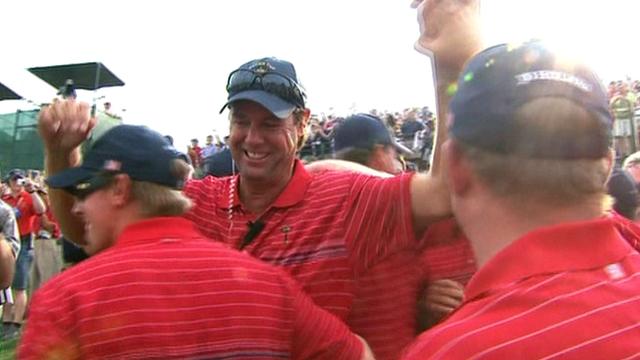 Paul Azinger (centre) celebrates USA's 2008 Ryder Cup win
