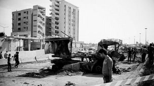 The bombed building housing the Palestine Branch of Military Intelligence in Damascus