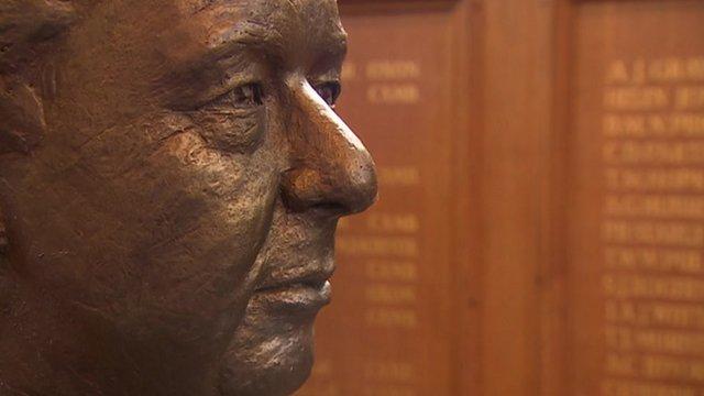 Benjamin Britten statue at Gresham's School