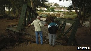 Bridge destroyed in the town of Alora, Spain, 29 Sept 2012