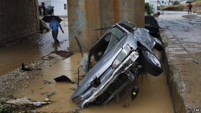 Car damaged in floods