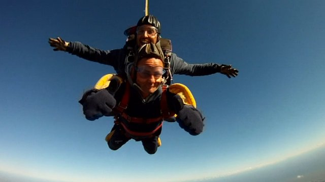 James North taking part in skydive