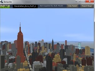 A screen shot of Manhattan on Betaville, showing the Empire State building
