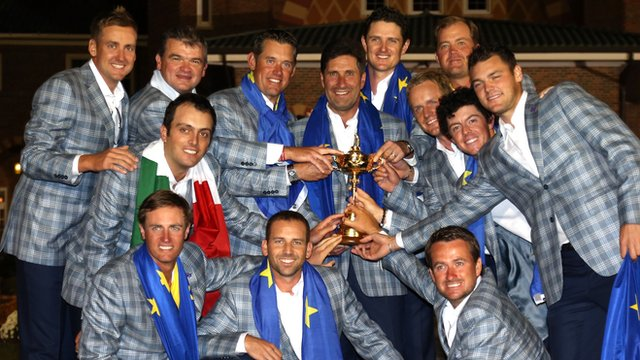 Team Europe celebrate Ryder Cup victory