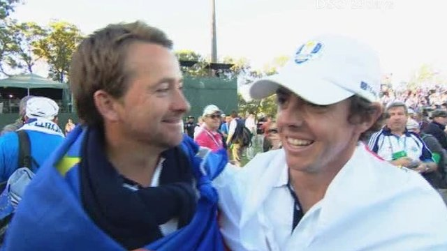 Graeme McDowell and Rory McIlroy celebrate Europe's dramatic Ryder Cup victory