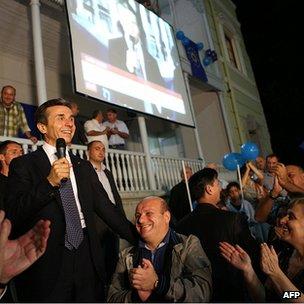Bidzina Ivanishvili with supporters, 1 Oct 12